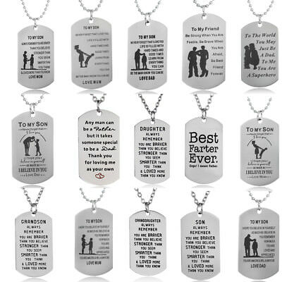 Stainless Steel Encourage Dog Tag Military Pendant Necklace Jewelry Mother's Day