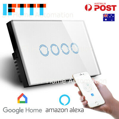 NEW AU Approved SMART HOME Alexa & Google Home WiFi Wall Switch 4 gang SmartLife