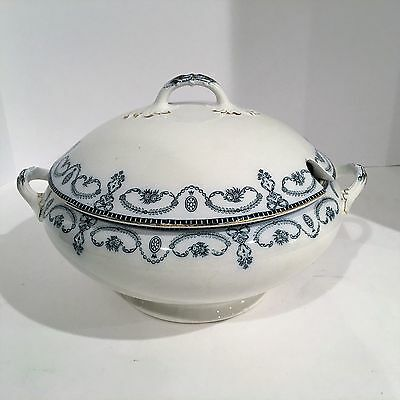 Vintage Blue & White China Serving Bowl Tureen w/Lid - Bristol England