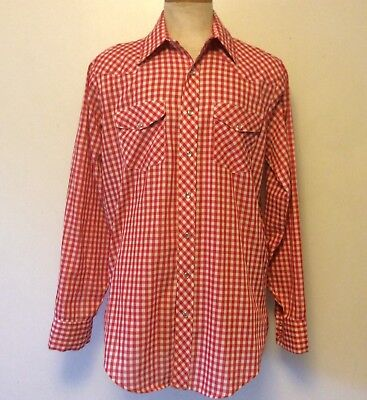 Vintage 1970s JC Penney Men's Large Extra Long Gingham Western Snaps Shirt 70s
