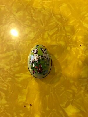 Hong Kong Tin Litho Easter Egg Candy Holder Murray-Allen!!
