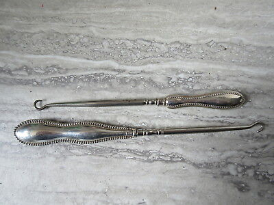 2 Antique Sterling Silver Beaded Handled Button Hooks