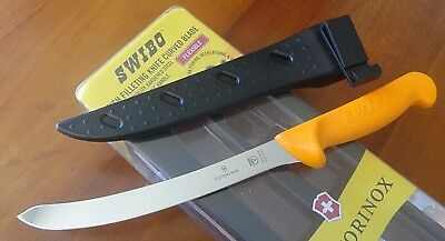 """Swibo 8"""" Curved Flex Fillet Knife 5.8452.20 With Poly Scabbard Presentation Pack"""