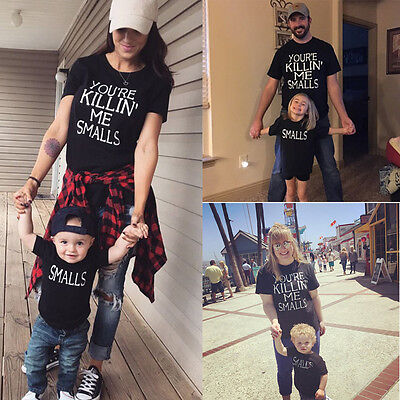 US Family Matching Outfits T-shirt Mother Daughter Father Son Tops Blouse Summer