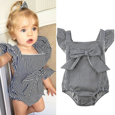 UK Newborn Toddler Baby Girl Striped Romper Jumpsuit Cross Back Sunsuit Clothes