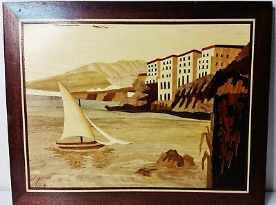 Vintage 50s-60s Handmade Inlaid Wood Marquetry Amalfi Coast Picture Plaque
