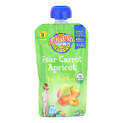 Earth's Best Organic Pear Carrot Apricot Baby Food Puree - Stage 3 - Case of 12