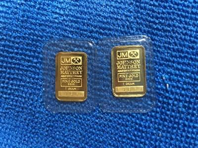 Lot Of (2) 1 gram SEQUENTIAL .9999 Fine Gold Johnson Matthey Bars
