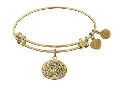 Angelica Non-antique Yellow Stipple Finish Brass niece Expandable Bangle