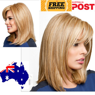 Short Straight Blonde Highlighted Bob with Bangs Synthetic Wig Women With Cap AU
