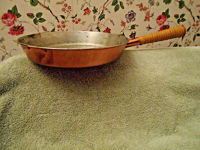 Ystad Metall Copper & Wicker Round Frying Pan ~Sweden~Decorative. Signed~Sharp~
