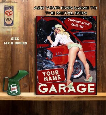 PERSONALISED GARAGE WORKSHOP SHED DAD MAN CAVE GIRL CAR Vintage  Metal Wall Sign