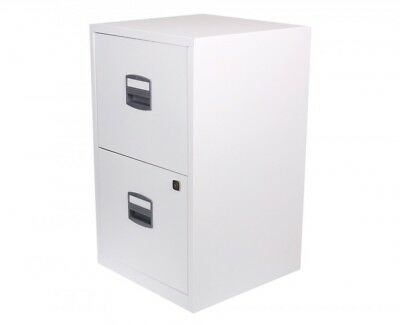 Metal Filing Storage Cabinet 2 Drawer A4 Home Office Keep Files Lockable White