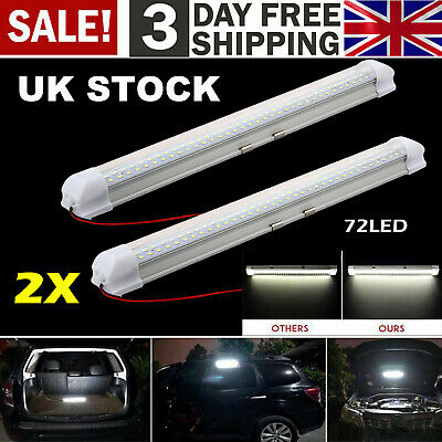 2x 12V 72 LED Car Interior White Strip Lights Bar Lamp Car Van Caravan Boat Home