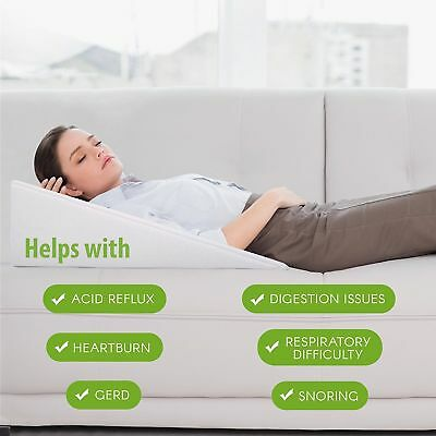 Premium Bed Wedge Acid Reflux Pillow Support - Dr Recommended for Snoring & Gerd