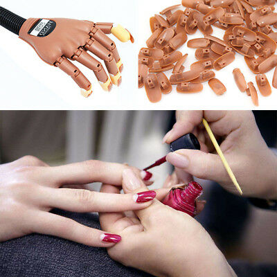 Adjustable Life Size Nail Art Training Hand Practice Learning Model + Refit Tip