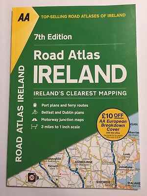 "AA ROAD ATLAS OF IRELAND LARGE IRISH DRIVING MAP 1"" : 3 Mile SCALE BRAND NEW"