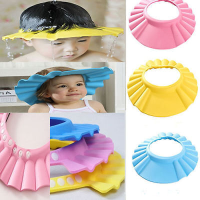 UK Adjustable Baby kids Shampoo Bath Shower Hat Cap Wash Hair Waterproof Shield