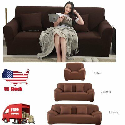 1/2/3/ Seater Stretch Elastic Fabric Sofa Cover Couch Covers Spandex LOT VIP