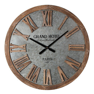 Hometime Large Grey Metal and Wood Round Wall Clock