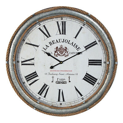 Hometime Metal And Rope Trimmed Deep Case Large Round Wall Clock