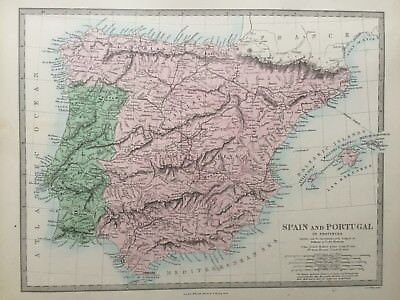 1865 Good size antique SDUK / Walker Map of Spain and Portugal