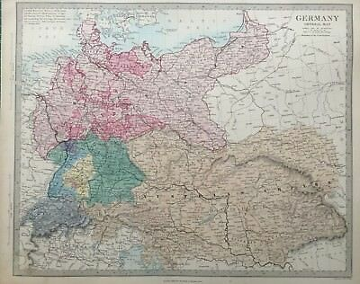 1865 Good size antique SDUK / Walker Map of Germany