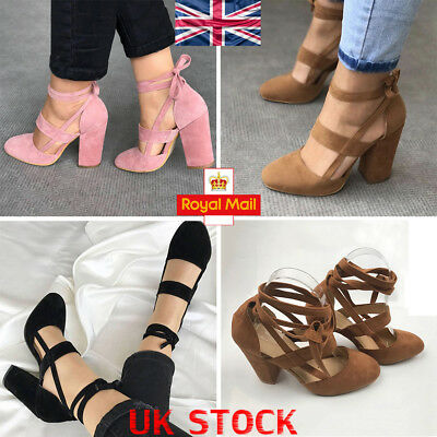 UK Women Ankle Strap Block High Heels Sandal Pointed Toe Pumps Casual Shoes Size