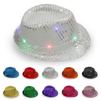 Flashing Light Up LED Fedora Trilby Sequin Fancy Dress Dance Party Hat Unisex 1P
