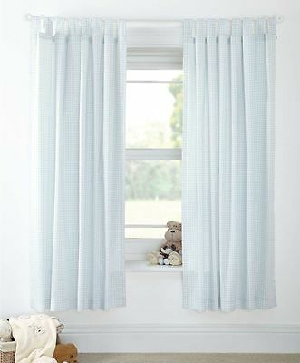 Mamas and Papas Night Time Hugs Boys Nursery Blue Gingham Checked Curtains