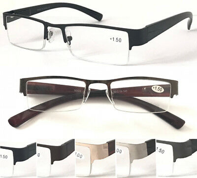 L414-A Gentle Semi-Rimless Reading Glasses Metal Frame Spring Hinge Plastic Arms
