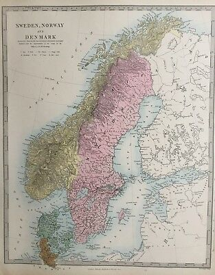 1865 Good size antique SDUK / Walker Map of Sweden, Norway and Denmark