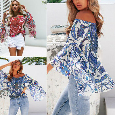 Boho Women Off Shoulder Casual Solid Shirts Lace Top Tees Blusas Blouse Tops LOT