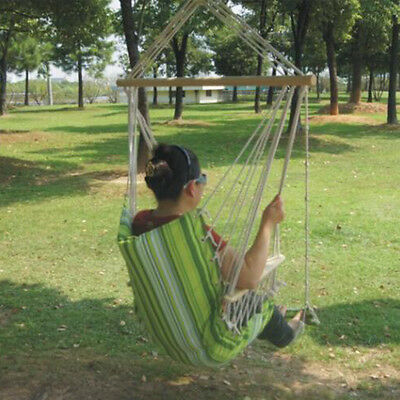 Prime Garden Hanging Rope Chair Cotton Padded Swing Chair Hammock Seat Green