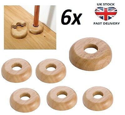 6x REAL OAK Wood 15mm Radiator Pipe Collars Wooden Floor Cover Rose Rings