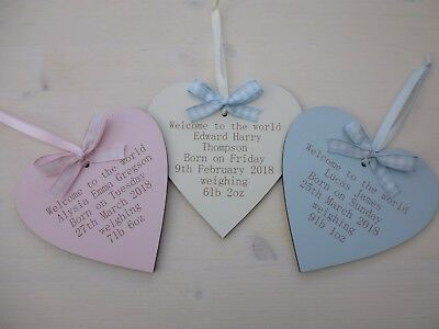 Personalised Engraved HEART NEW BORN BABY GIFT KEEPSAKE 3 COLOURS