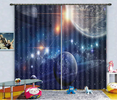 Planet Federation 3D Blockout Photo Curtain Print Curtains Fabric Kids Window
