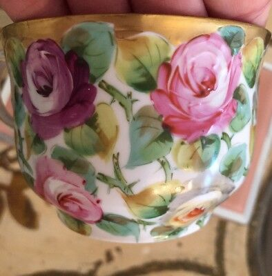 Antique Porcelain Prussia ? Mustache Tea Cup Stunning Gilded Roses