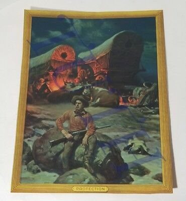 """""""Protection"""" Old Wild West Camp Cowboy Fire Cover Wagon Print Calendar Top ONLY"""