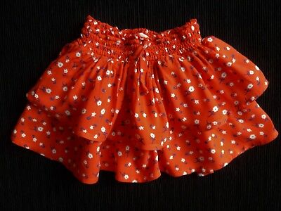 Baby clothes GIRL 12-18m slinky viscose tier red,white/navy flowers summer skirt