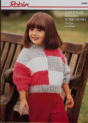 "Robin Knitting Pattern 13586 Girls Patch Effect Sweater 20-28"" Easy Vintage NEW"