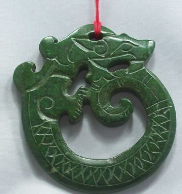 Pendant Old Hand Carved Chinese Culture Natural Jade Dragon Amulet A17