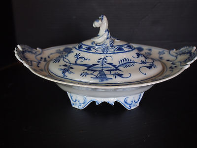 Large Antique Colln MEISSEN Flow Blue Onion Footed Tureen w Lid Marked Sword 13""