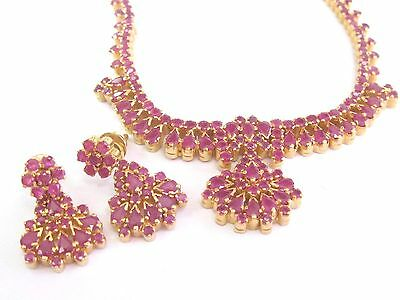 """22Kt Gem Ruby Yellow Gold Necklace + Earrings 20.00Ct 15"""" & 1"""""""