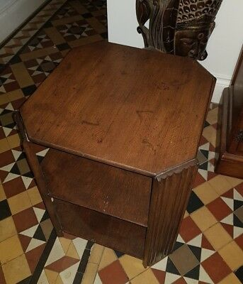 Lovely Vintage Antique Art Deco Small Oak Octagonal Side Hall Coffee Table VGC