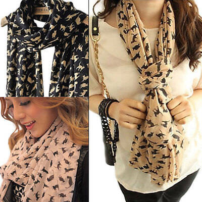 Korean Womens Chiffon Sweet Cat Print Kitten Scarf Shawl Girls Long Scarves SH