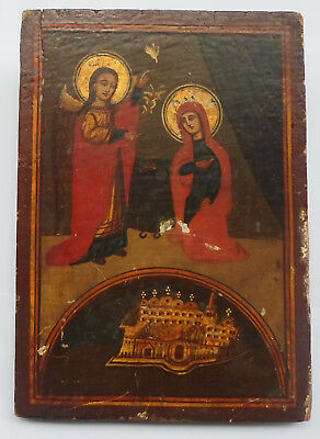 1900's Virgin MARY ANNUNCIATION Antique Greek Orthodox Hand Painted Icon on Wood