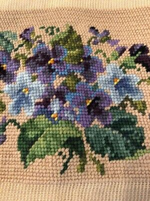 Vintage Pansy Roses X2 Needlepoint Floral Seat/ Pillow Cover Canvases