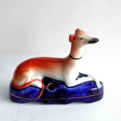 19th C. Staffordshire Greyhound/Whippet Pen/Quill Holder Figural Inkwell 1850's
