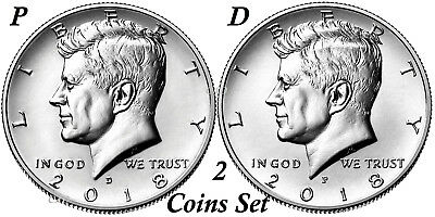 2018 Kennedy Half Dollars 2 coins set P + D Clad President 50¢ coin US Mint